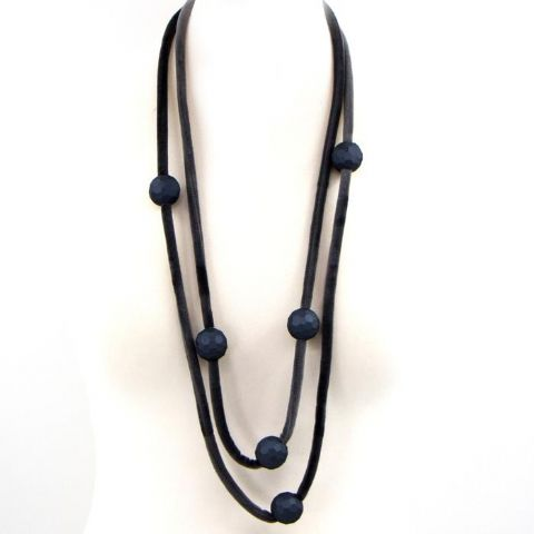 DOUBLE STRAND GREY VELVET LONG NECKLACE WITH NAVY BEADS